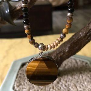 Vintage tiger eye& multi stone necklace